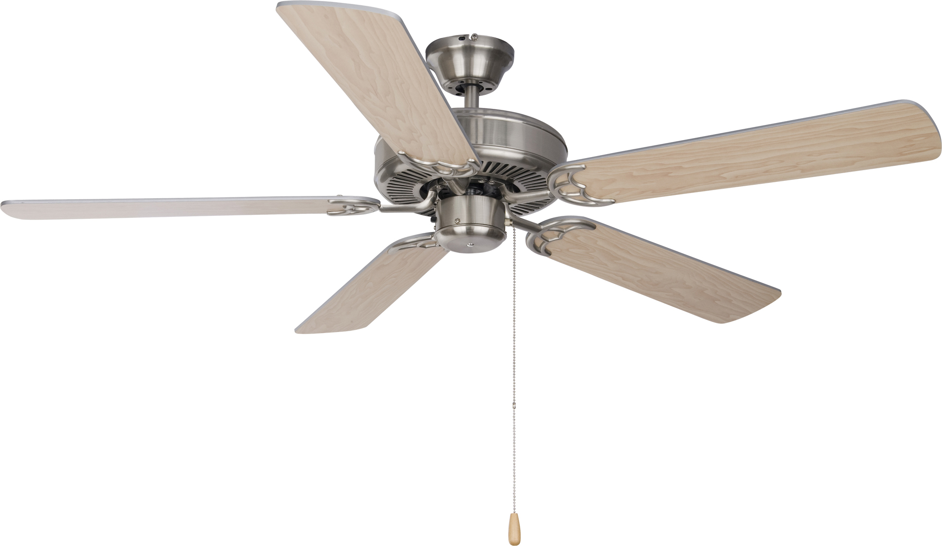 "Basic Max 52"" Ceiling Fan Silver Maple Blades Indoor Ceiling"