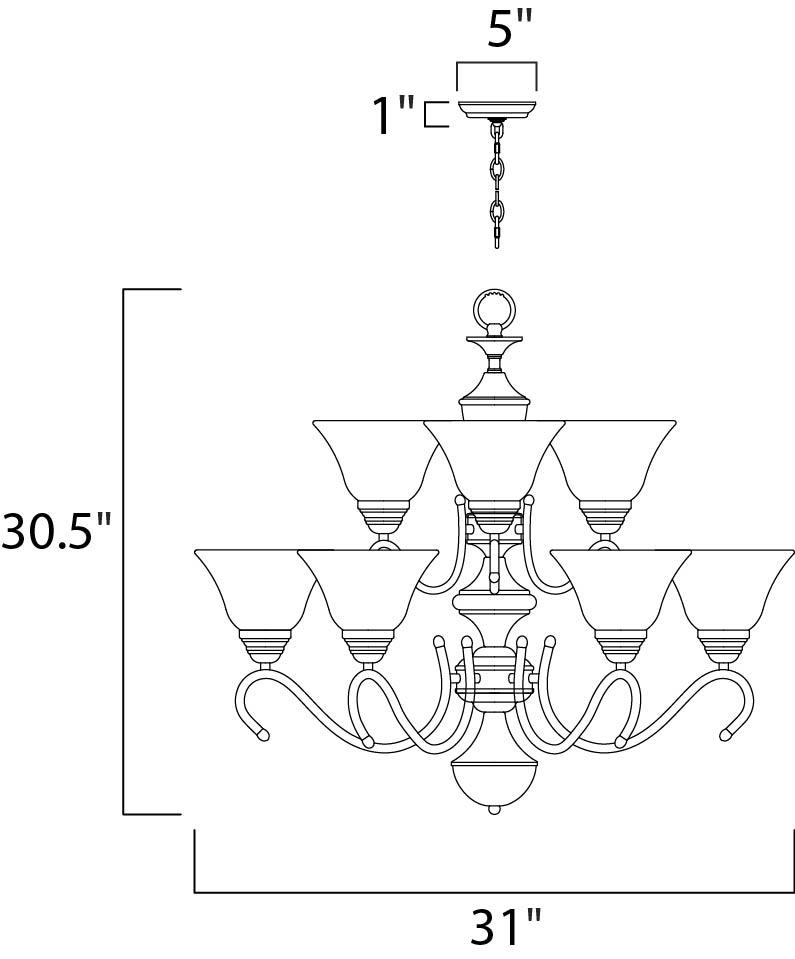 newport 9-light chandelier - multi-tier chandelier