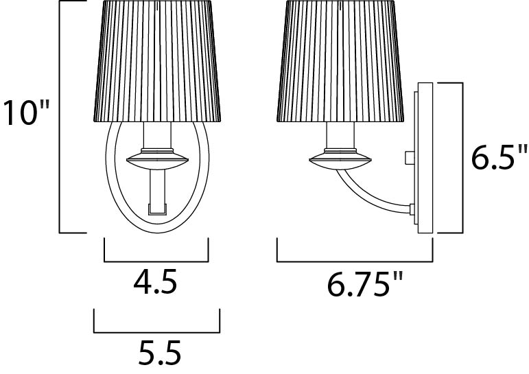 Maxim Finesse Wall Sconce Model: 21507FTSN Line Drawing