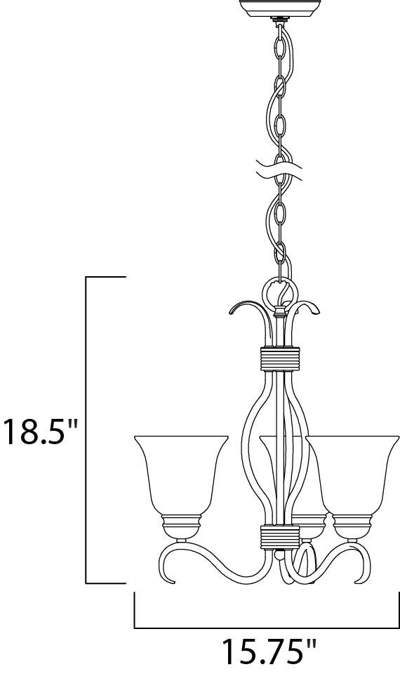 basix ee 3-light chandelier - mini chandelier