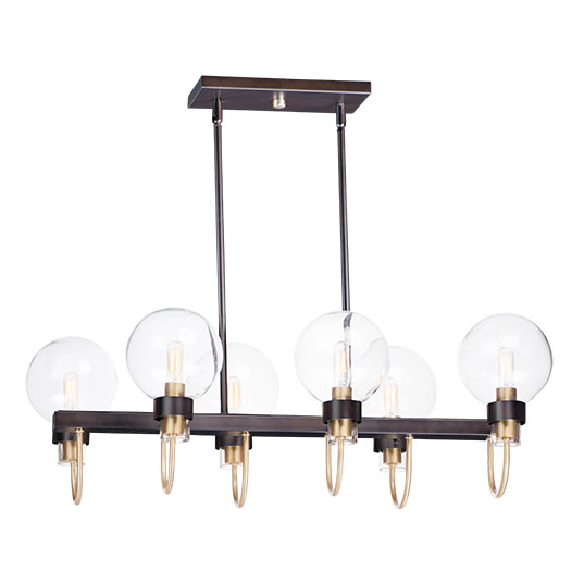 6 Light Linear Chandelier 30519clbzsbr